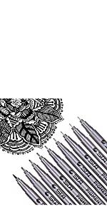 Black Drawing Pens