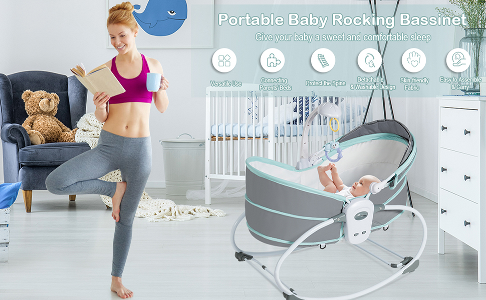 5 in 1 portable baby cradle swing
