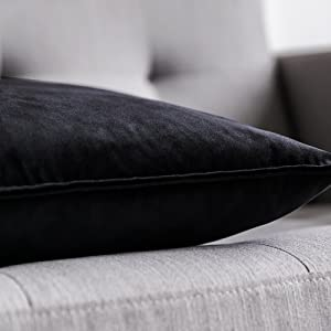 MIULEE velvet cushion cover soft comfortable 12x20 18x18 20x20 24x24 two 2 pcs pillow covers black