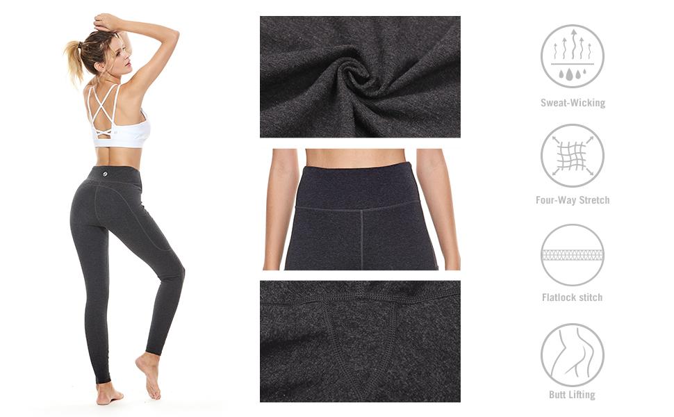 baleaf high waist yoga pants side pockets workout leggings tummy control