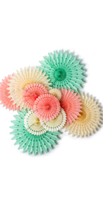 Hanging Honeycomb Tissue Paper Fans