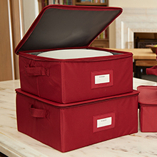 Red dish storage box