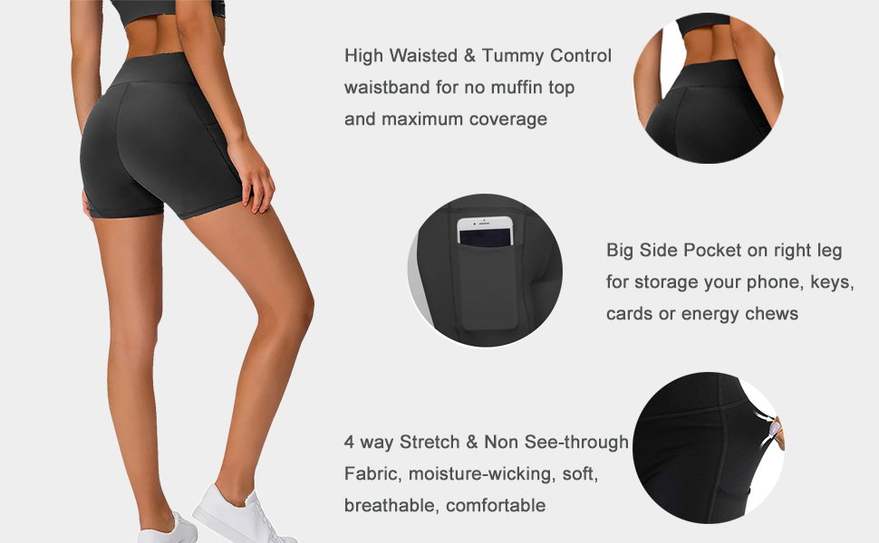 """TAIPOVE Women's High Waist Stretch Workout Shorts Non See-Through 5"""" Athletic Running Yoga Shorts"""