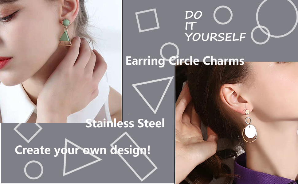 Models wearing circle earrings for reference.