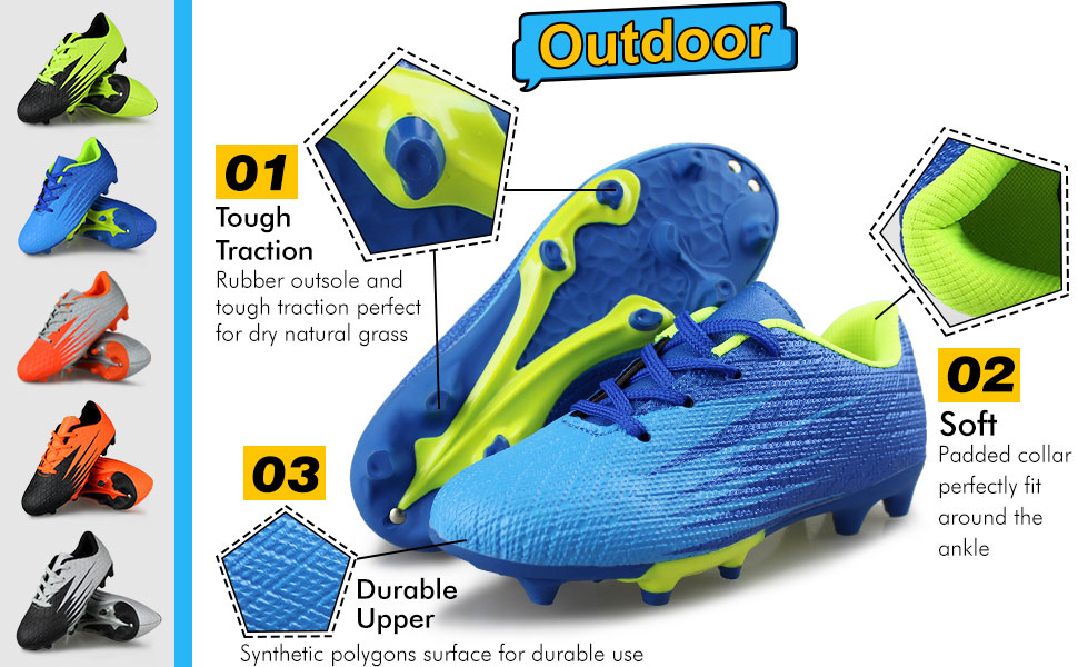 Hawkwell Kids Athletic Outdoor Indoor Comfortable Soccer Shoes(Toddler/Little Kid/Big Kid)