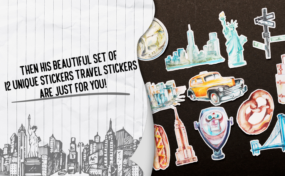 12 Unique Beautiful Travel Sticker Set