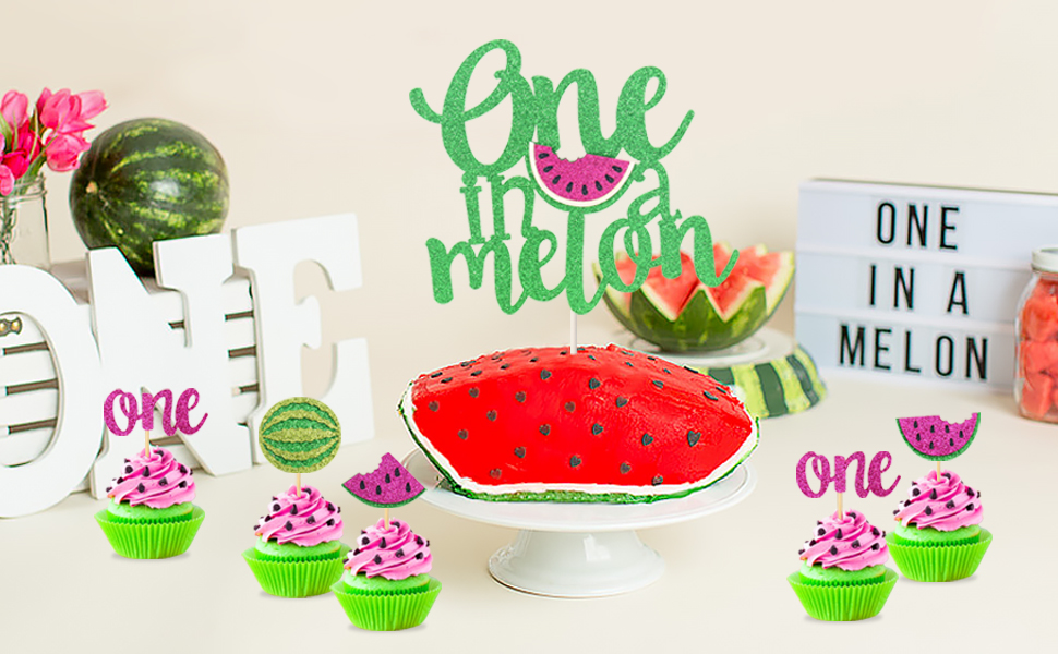 Watermelon Cake Toppers Set