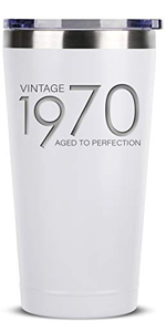 1970 50th Birthday Gifts for Women Men - 16 oz White Insulated Stainless Steel Tumbler w/Lid