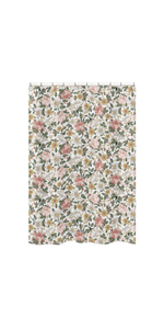 Vintage Floral Boho Bathroom Fabric Bath Shower Curtain - Blush Pink, Yellow, Green and White