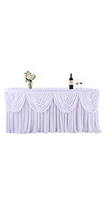 White Polyester Pleated Table Cloth