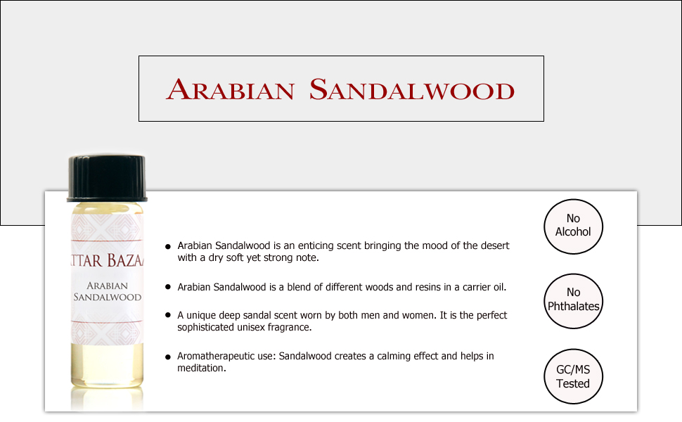 Attar Bazaar best perfume oils aromatherapy therapeutic grade essential Perfume Arabian Sandalwood