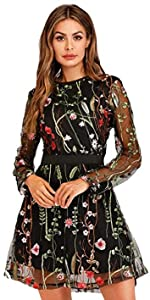 Women's Floral Embroidered Mesh Short Dress