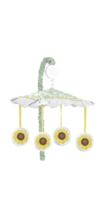 Yellow, Green and White Sunflower Boho Floral Girl Baby Nursery Musical Crib Mobile