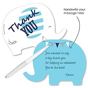 Blue Elephant Shaped Thank You Cards