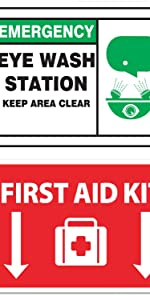 Safety Wall Sticker Set - Fire (3) / First Aid (1) / Eye Wash (1)