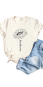 Womens Sunflower Never Give Up Shirt Graphic Printed Casual Short Sleeve O-Neck Tee Tops Blouse
