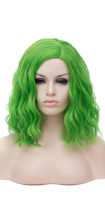2642 Green short curly wig