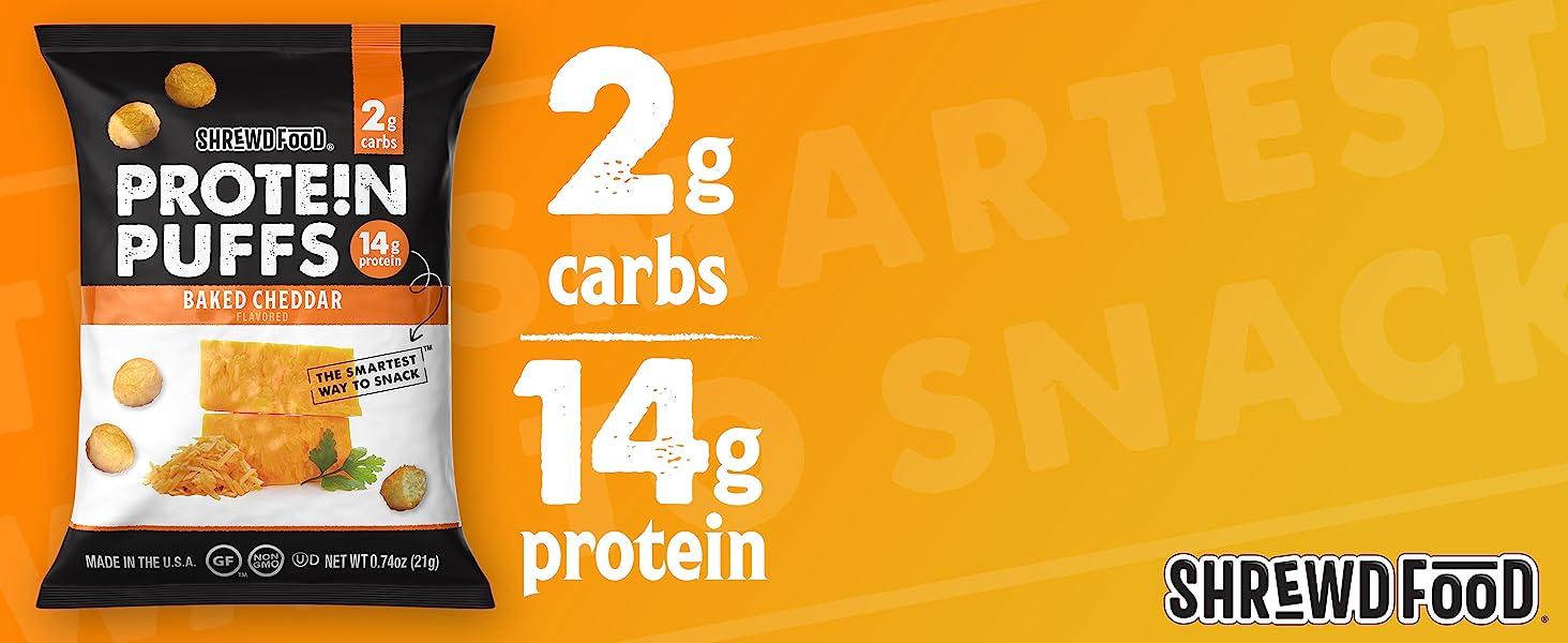 ShrewdFood Baked Cheddar Protein Puffs