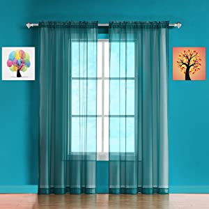warm home designs curtains panels patio teal green scarf valance sheer voile sheers linen swag