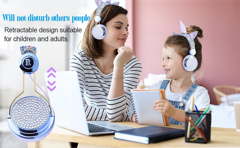 Kids Headphones Wireless Headphones for Kids Unicorn Headphones for Girls Bluetooth w/Microphone