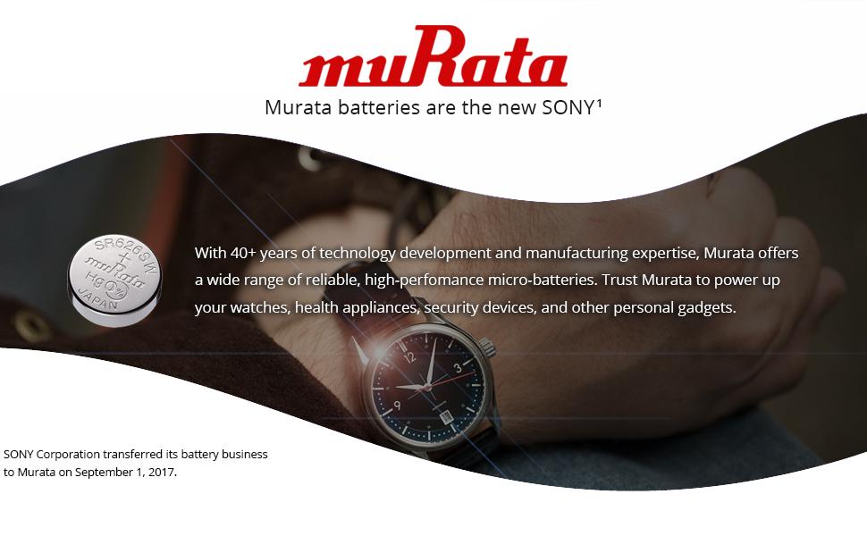 Murata silver-oxide watch batteries