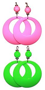 neon hoop earrings earring green pink yellow blue black bright fluorescent 80s costume 90s