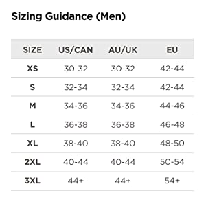 sizing guidance for men