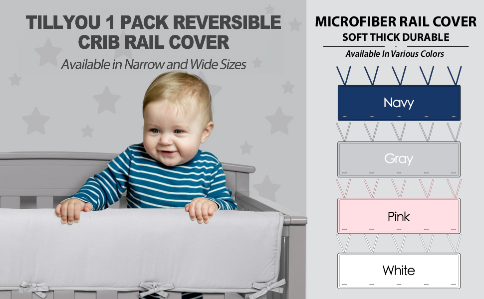 padded crib rail cover protector safe teething guard wrap long front back rails microfiber polyester