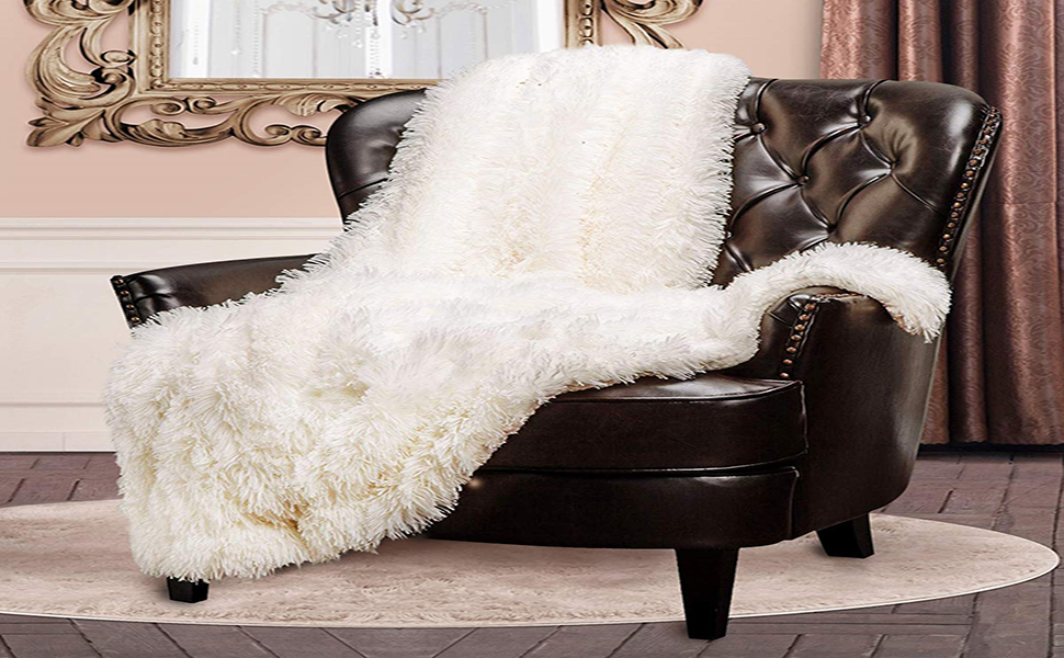 Lochas Super Soft Shaggy Faux Fur Blanket Plush Fuzzy Bed Throw Decorative Cozy Sherpa Fluffy Blankets For Couch Chair Sofa Pink 50 X 60