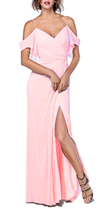 A-Line Chiffon Sleeves Long Bridesmaid Dress Off-The-Shoulder Evening Prom Gown