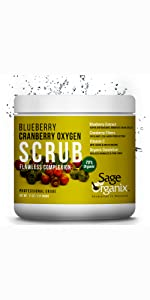 Sage Organic Facial Scrub Organic Natural Blueberry Cranberry Deep Cleanse Exfoliate Acne Blackhead