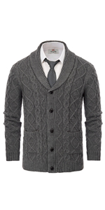 mens cable knitted shawl collar sweaters cardigan button down long sleeve cardigan sweater for men