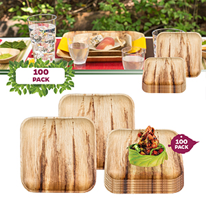 biodegradable compostable disposable dinnerware buffet party wedding plates forks spoons palm leaf