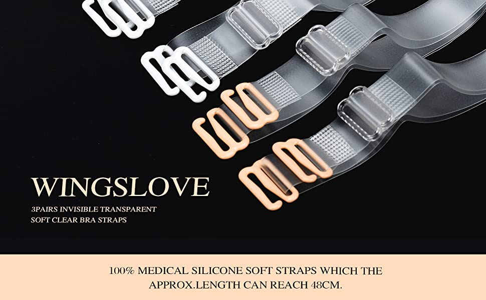 WingsLove 3Pairs Invisible Soft Clear Replacement Bra Shoulder Straps