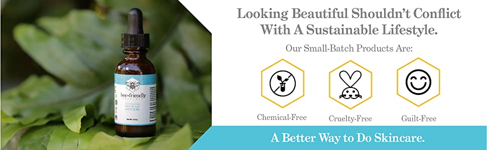 Lifestyle imagery and callouts emphasizing what serum is free of