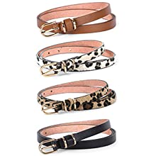 women skinny PU leather belt set of 4