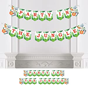 Jungle Party Animals - Safari Zoo Animal Birthday Party or Baby Shower Bunting Banner - Party Decor