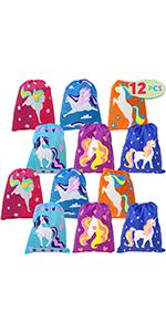 Drawstring Unicorn Goodie Bags Bulk (12 Pack)