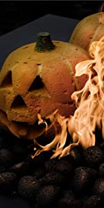 ceramic pumpkin Halloween fire pit decor fireplace indoor spooky design