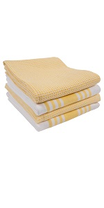 striped and waffle kitchen towels
