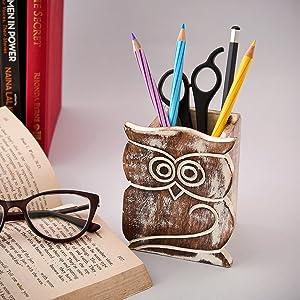 Pen pencil eyeglass holder eye glass desk spectacle owl retainer men wooden nose bedside nightstand