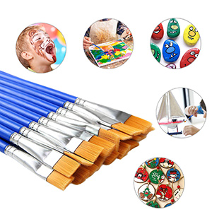 30 Pcs 9mm Wide Flat Paint Brushes Acrylic Small Brush Bulk for Detail Painting