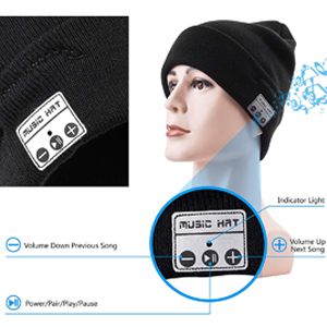 Black with Gray BGJOY Music Hat Wireless Beanie Smart Hat Built-in Stereo Speaker Mic Wireless Headphones Beanie Sync Call Music for All Bluetooth Smart Phones Gift Men Women Boys Girls