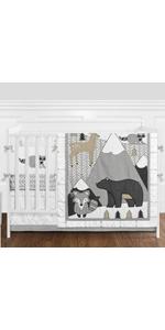 Beige, Grey and White Boho Mountain Animal Gray Woodland Forest Friends Baby Nursery Crib Bedding