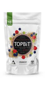 topbit protein food topping, oatmeal, pro granola, cereal, salad toppings, vegan protein, plant
