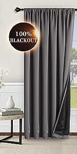 100% rod pocket blackout curtains