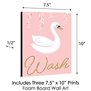 Swan Soiree Kids Bathroom Rules Wall Art
