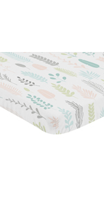 Pink Grey Tropical Leaf Baby Nursery Fitted Mini Portable Crib Sheet For Mini Crib or Pack and Play