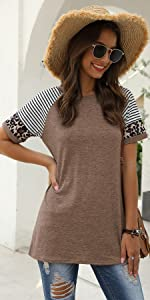Fashion Stripped Short Sleeve Tops For Women