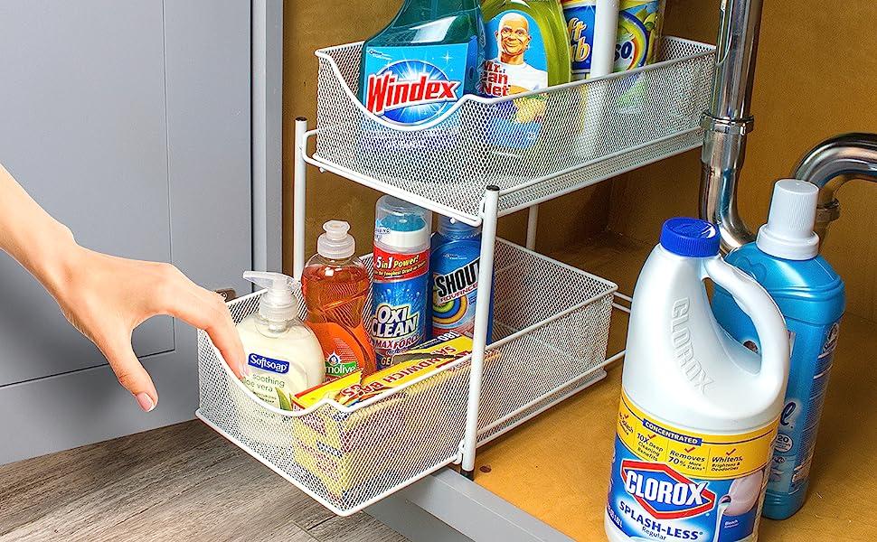 2 tier drawer organizer basket stand